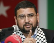 Sami Abu-Zuhri, a spokesman for the Islamist Palestinian movement Hamas, addresses a news conference in Istanbul